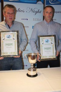 Crumlin lofts Ian Fleming (l) of Fleming Bros and Mickey McConville of McConville Bros winners in the NIPA Sect B.