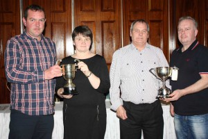 Steele & McNeill present the Top Prize-winner award to Mr & Mrs Sempey at Ballymena.