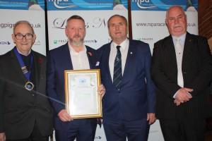 Mark Laffin collects Sect D Champion YB award at NIPA Ladies Night 2017