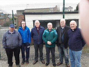 NIPA Commitee men visiting at the destined adults with learning difficulties loft at the Railway Musuem in Derry with from (l) Joe McDowell and Richard Seaton, Derek Simpson, Fred Russell, Ken Wilkinson and Pat McLaughlin. This new loft will be racing young birds with NIPA this year.