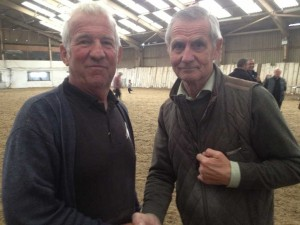 Willie Neill (l) congratulated by Irish Rover.